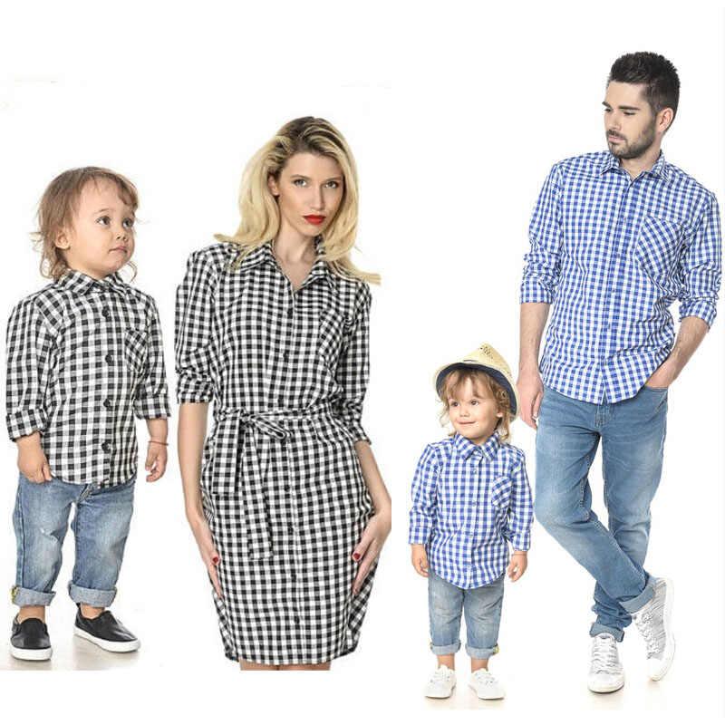 Conjuntos a juego de la familia nuevo otoño papá hijo Plaid camisas mamá hija camisa de manga larga vestido con bolsillo primavera familia trajes