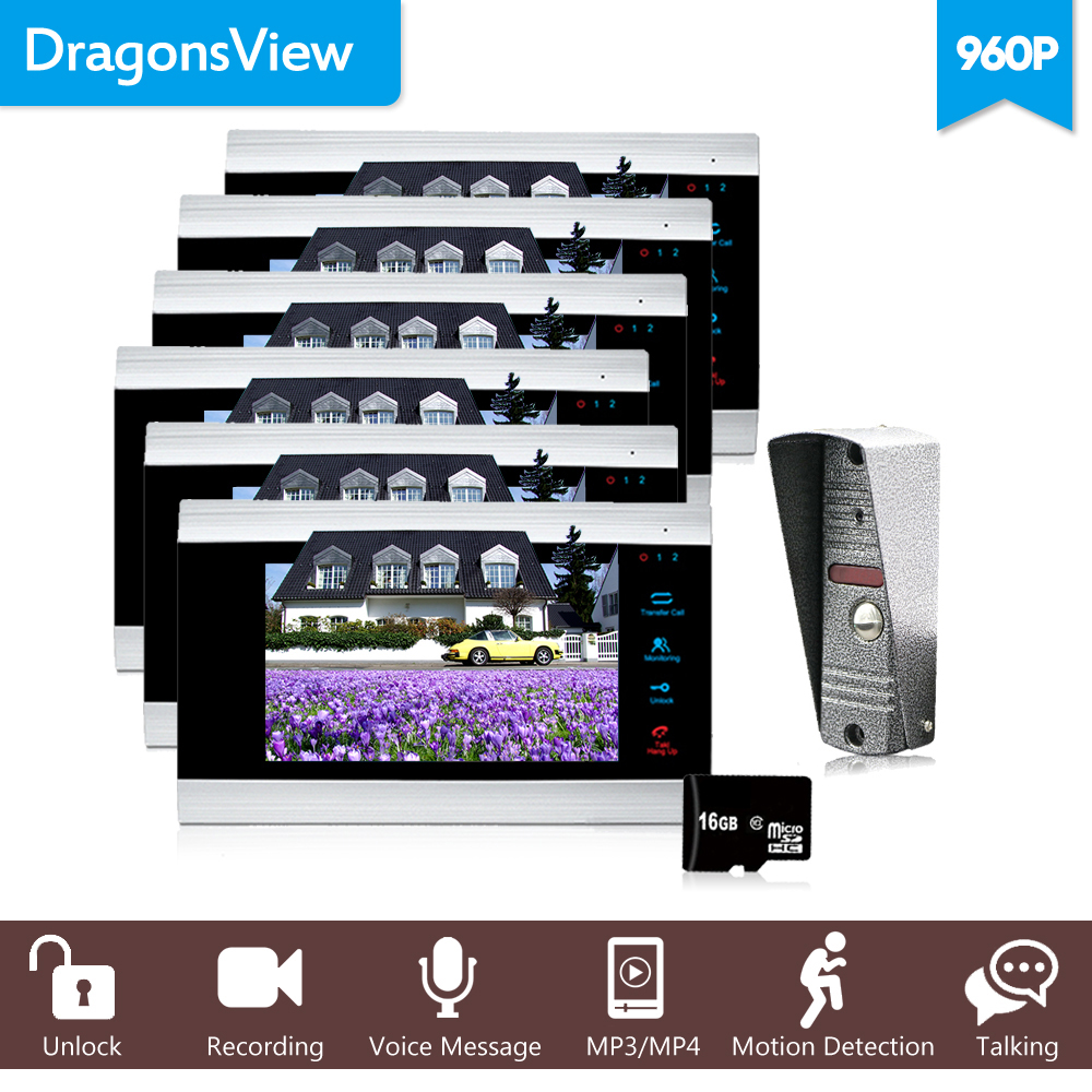 Dragonsview 960P Video Door Phone Record Inercom System 7 Inch Video Call Bell with Camera Motion Detection Alarm Talk Unlock