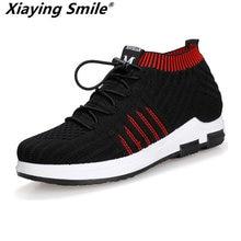 1f669da4f Flyknit Sapatos Moda masculina Sapatos de Couro Lace Up Casual Flats  Estudante do Sexo Masculino Skate