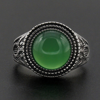 Men Ring 925 Sterling Silver Round Shape Green Natural Stone Similar to Owl Pattern Vintage for Women Men Lovers Jewelry