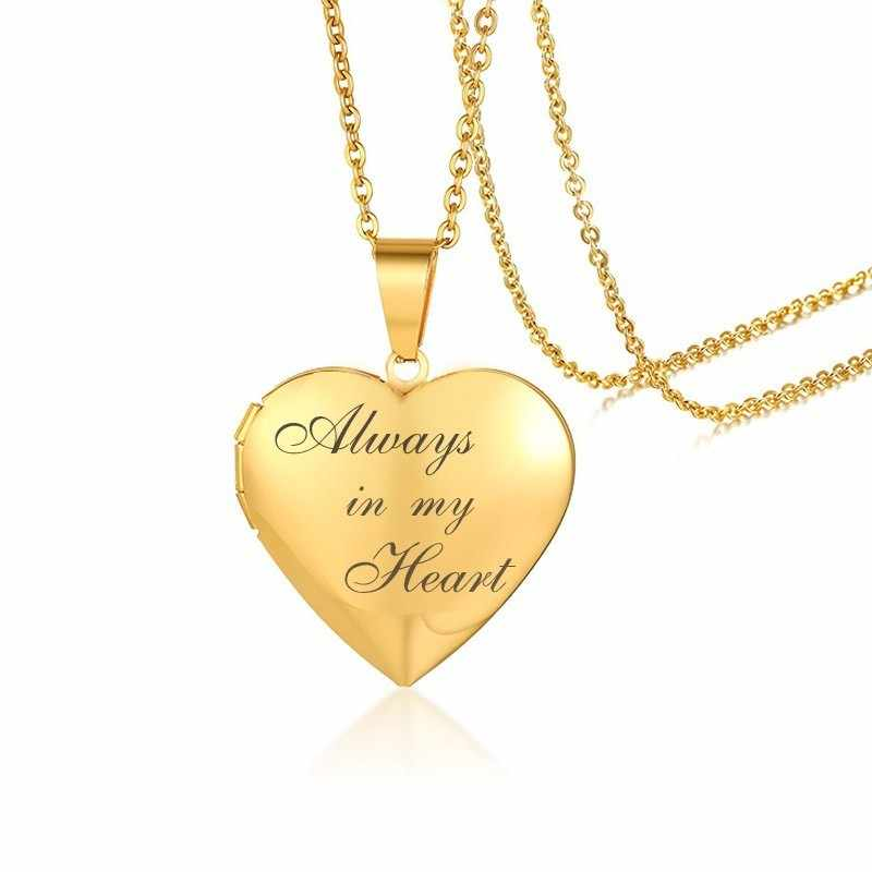 Women Always in My Heart Photo Frame Necklaces Free Personalized Engrave Stainless Steel Promise Keepsake Gifts for Her