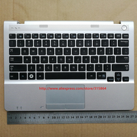 US /UK New for Samsung NP300U1A NP305U1A  Keyboard with touchpad black Silver frame Plamrest|keyboard s|samsung np300u1a|keyboard samsung np305u1a -