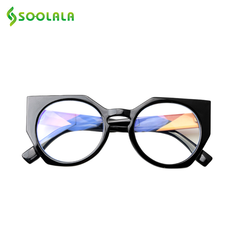 SOOLALA Anti Blue Light Reading Glasses Men Women Cat Eye Eyeglass Frame Hyperopia Gafas Presbicia Glasses Diopter +0.5 To 4.0