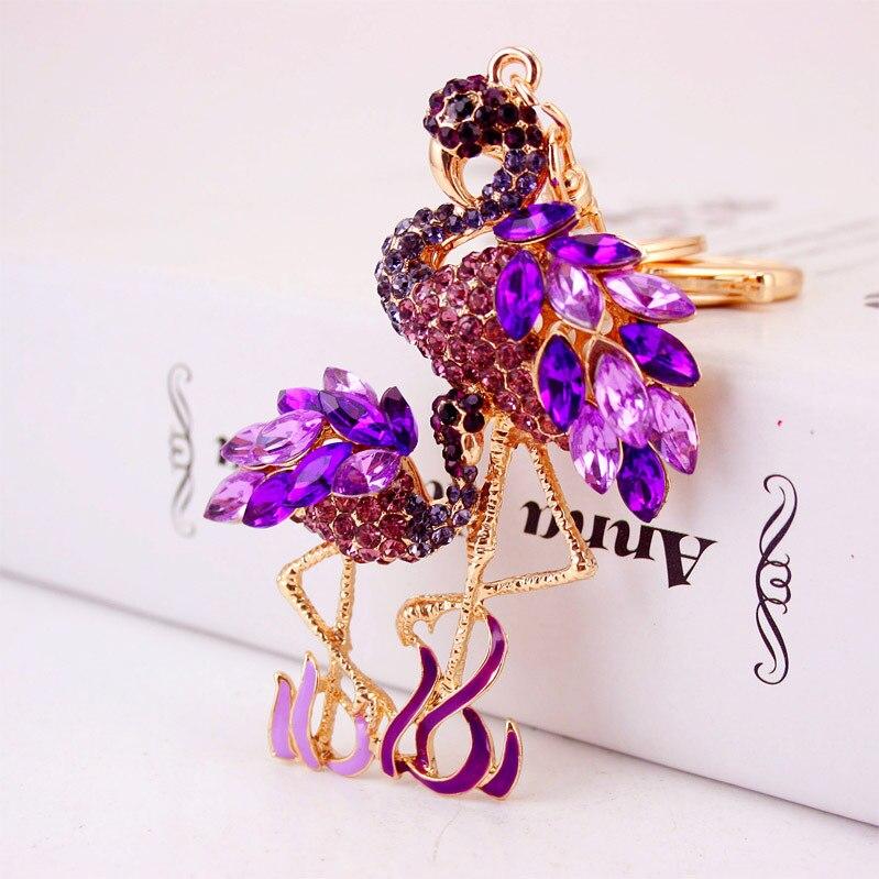 Zarte Doppel Flamingo Vogel Schlüsselanhänger Ringe Halter Für - Modeschmuck - Foto 4
