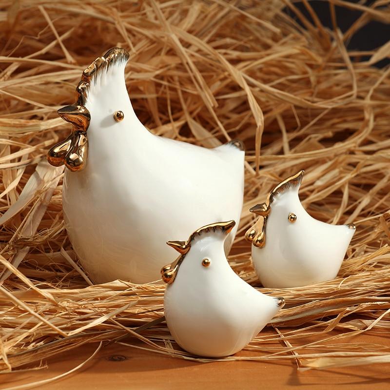 white mother and kids ceramic chicken figurines home decor ceramic hen ornament crafts room decoration porcelain animal figurine