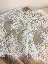 3 yards ivory French Alencon lace fabric trim 35cm wide for bridal, gowns, garters, veils DIY wedding