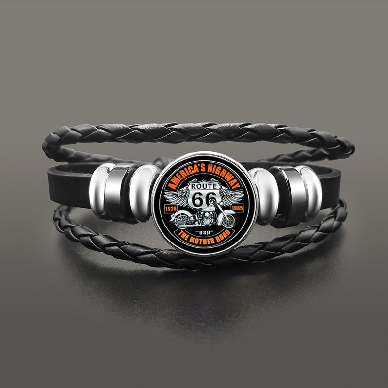 Classic US Route 66 Bracelet Jewelry Punk Leather Glass Dome Cabochon Button Snap Bracelets For Men Women