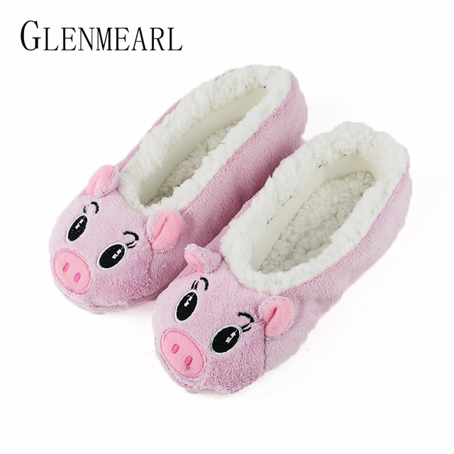 29b8b7d91e843 Cute Women Slippers Animal Winter Warm Soft Indoor Slipper Home Shoes Flats  Non-Slip Comfortable Fur Slippers Chirstmas Gift 35