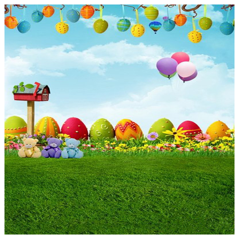 Top Deals 3x5Ft Cute Fresh Grass vinyl Photo background Studio Props Backdrops Easter Egg Air Balloon Cartoon Baby Kids photog
