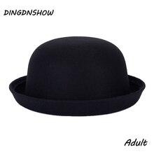 [DINGDNSHOW] Мода Винтаж Fedora леди милые трендовые шерстяные кепки фетровая шляпа Боулер Дерби гибкие шляпы фетровые шляпы для женщин