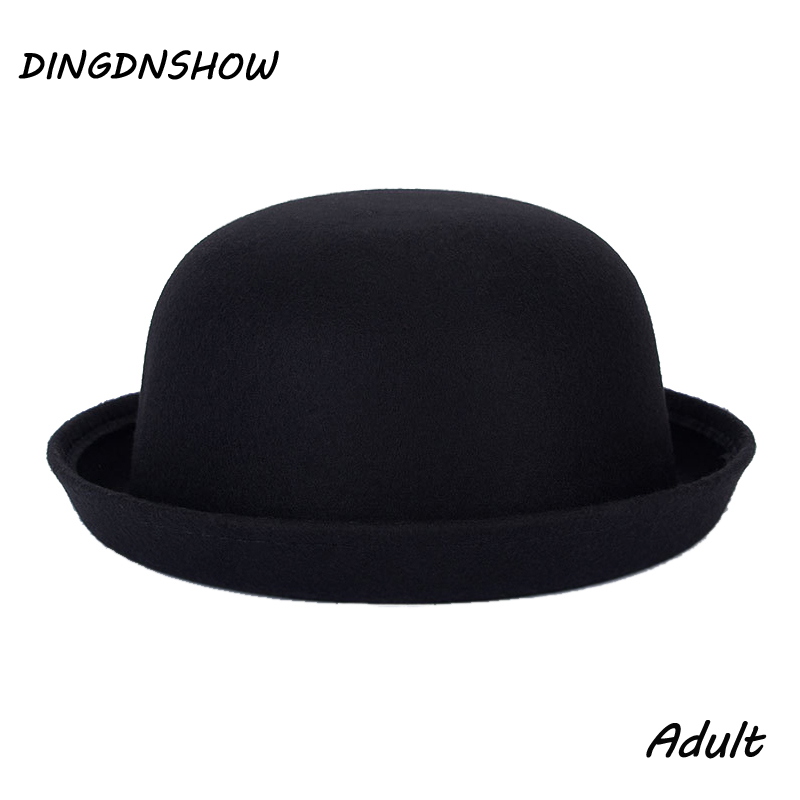 [DINGDNSHOW] 2018 Fashion Vintage Fedora Lady Cute գերժամանակակից բուրդ գլխարկ Felt Bowler Derby Floppy Hats Fedoras For Women