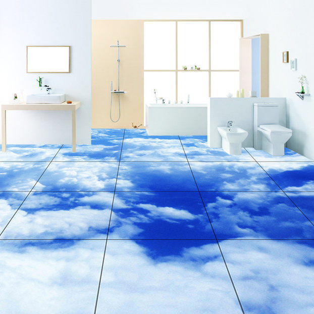 Custom size 3d bathroom floor wallpaper white cloud 3d for 3d wallpaper for bathroom