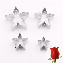 4YANG 4pcs/set DIY Stainless Steel Star Cookie Cutter Rose Flower Calyx Serrated Leaves Biscuit Fondant Cake Mould Icing Mold