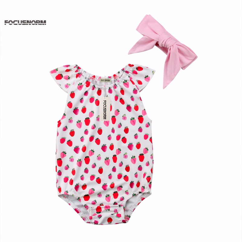 Newborn Infant Baby Girls Romper Jumpsuit Sunsuit Clothes Outfits Baby Girl Sleeveless Ruffles Bow Romper Red
