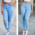 Aliexpress hot style Sexy Haroun Ms jeans Hole feet pants pants and women code cowboy pencil pants stretch pants
