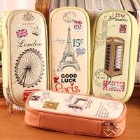 Korean Creative School Pencil Case Eiffel Tower Pen Bag Kawaii Girls Boy Pencil Case Bag Estojo