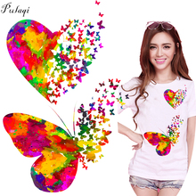 Pulaqi Love Butterfly Iron On Heat Transfers Cartoon DIY Sticker For Clothing T-shirts A-level Washable Easy Print Cute Patches