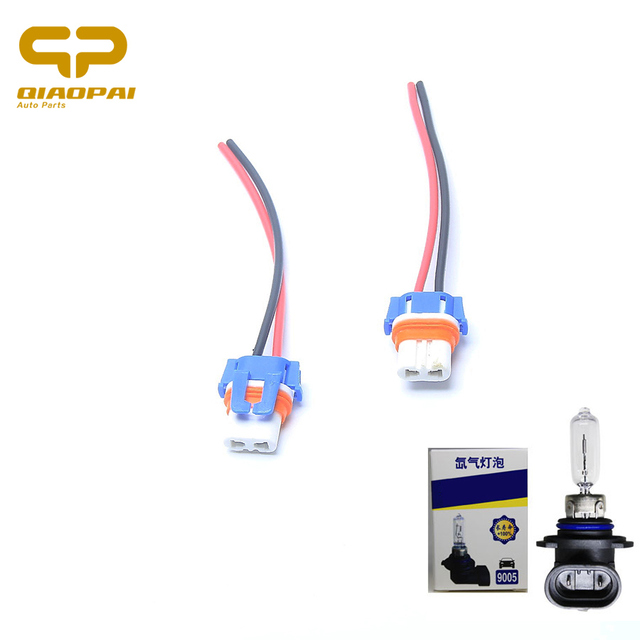 2PCS HB3 9005 Led Headlight Plug Harness Ceramic Lamp Socket Copper  Automotive Wire Connector Car Lamp
