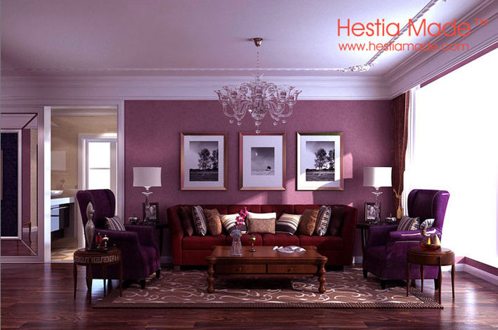 Non Woven Wallpaper Solid Colour Dark Purple Wallpaper For Romantic Bedroom Wall Decor Dark Purple