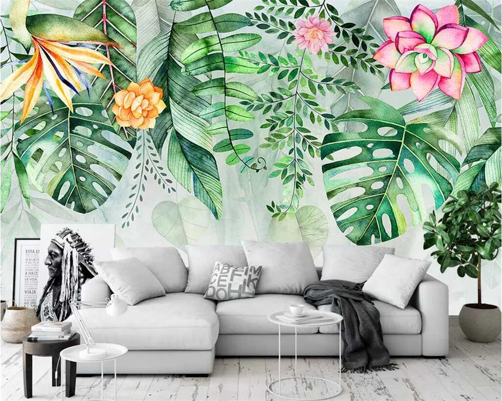 Beibehang Lukisan Dinding Wallpaper Taman Succulent Tanaman Monstera Flamingo TV Latar Belakang Dinding Ruang Tamu Kamar.jpg q50