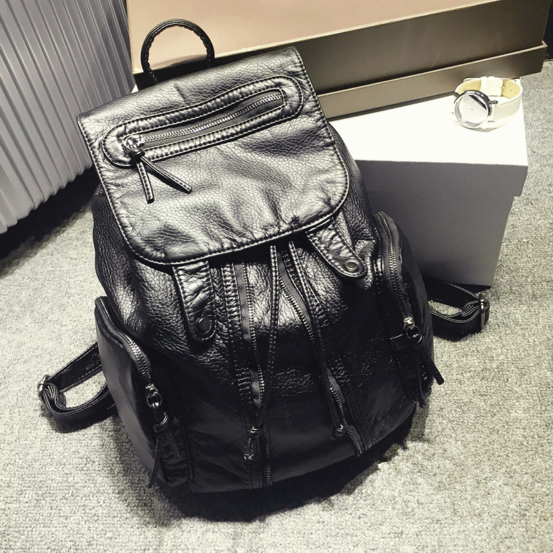 2018 Fashion Women Black Real Leather Backpack Preppy Style School Bag Kanken mochila feminina Genuine Leather Backpacks