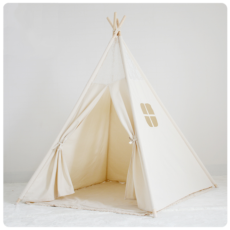 Natural Canvas Childrens Play Teepee Indian Tent With Floral Lace Tipi Tent Play Tipi Enfant pink clouds teepee tent indoor childrens play tipi