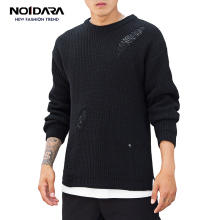 No.1 Dara 2018 Autumn Mens Pullover Casual Fitness Solid Sweater O-Neck Long Sleeve Knitted Male Winter Jersey Hole on Shoulder