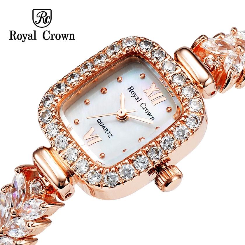 ФОТО Royal crown Lady Wrist Watch Quartz Hours Best Fashion Dress 18K Gold Plated Bracelet Band Shell Luxury Rhinestones Bling 1514