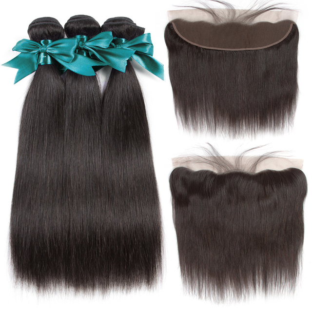 Sweetie 13X4 Ear To Ear Lace Frontal Closure With Bundles Peruvian Human Hair Straight With Lace Frontal Baby Hair Non-Remy Hair