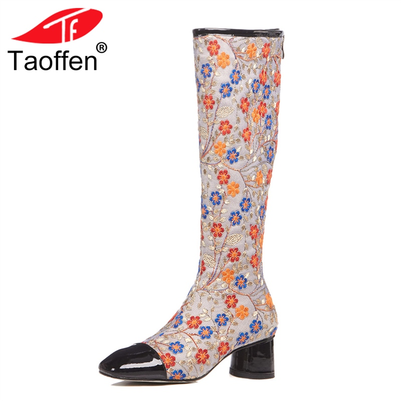 TAOFFEN Size 33-42 High Heel Woman Boots Real Leather Embroidery Zipper Print Flowers Knee Boots Woman Vintage Shoes TAOFFEN Size 33-42 High Heel Woman Boots Real Leather Embroidery Zipper Print Flowers Knee Boots Woman Vintage Shoes