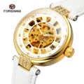 2019 ファッション Forsining トップブランドの女性ダイヤモンド自動女性の腕時計 Montre ファムゴールドスケルトンレロジオ Feminino ブランド時計