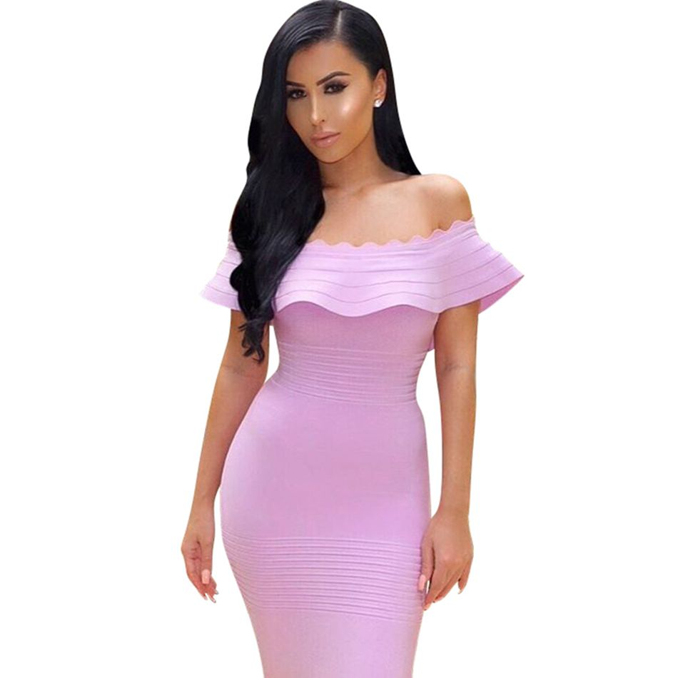 2016 New Winter Women Party Bandage Dress Off The Shoulder Strapless Ruffles Mid Calf Pink Yellow