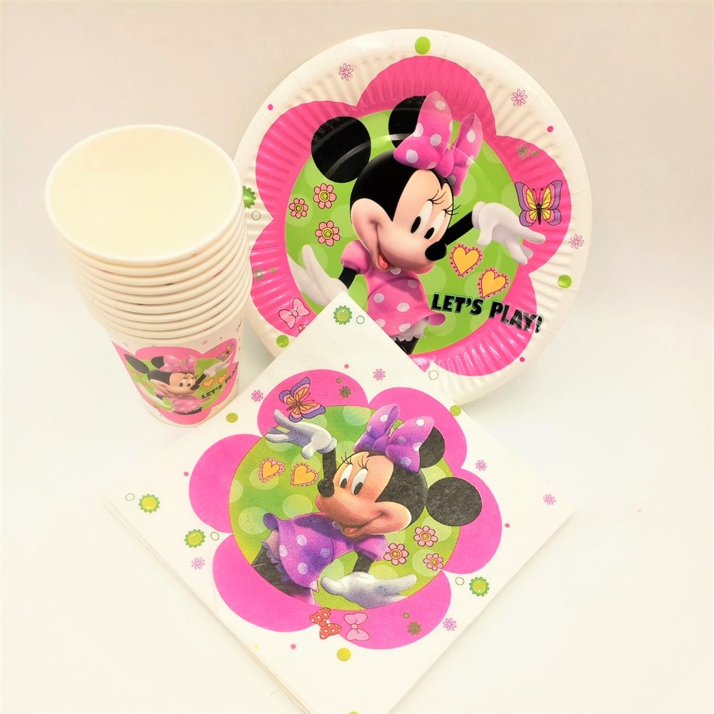 Hot 40pc/set Theme Cup/Plate/Napkin Minnie Mouse Party Supplies For Girls Shower Event Party Decorations Party Supplies Favors