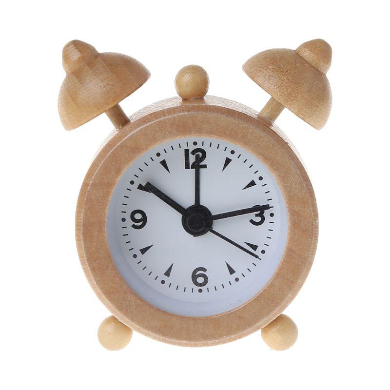 Wooden Alarm Clock Classic Mini Travel Creative Cute Decoration Small Convenient Mini Student Gift