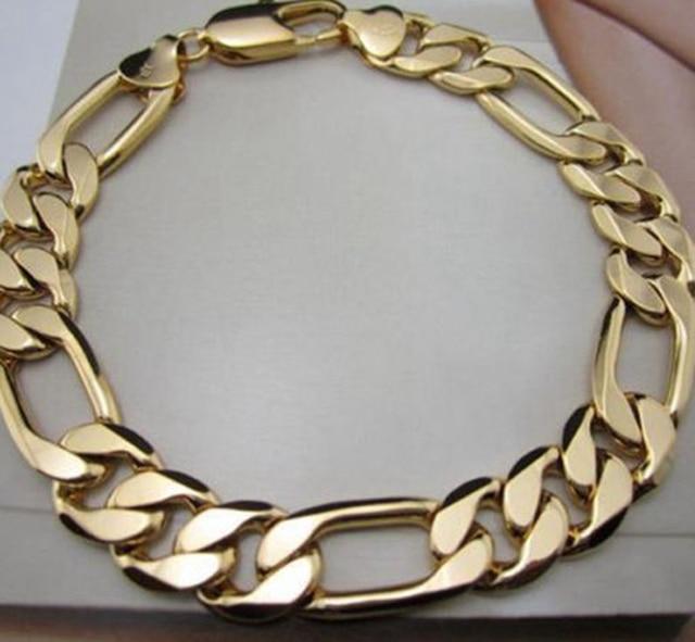 Solid Figaro Bracelet Yellow Gold Filled Massive Mens Bracelet Long 8.6