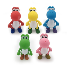 Super Mario Bros 5Color Yoshi Action Figure 12CM PVC Collectible Model Toys Kids Nice Gifts Free Shipping цена 2017