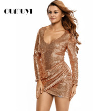 Fashion Women Dress Sequins Sexy V-neck Long Sleeves Slim Mini Dress Party Night Dresses