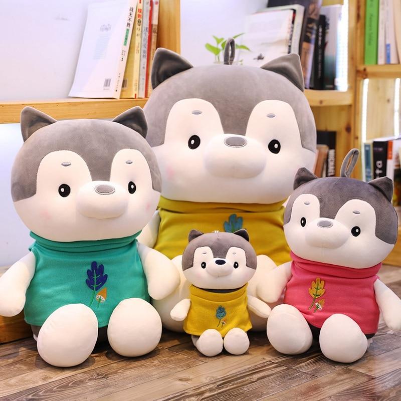 New 30cm-80cm Lovely Dressing Husky Dog Plush Toy  Dolls Stuffed Children Pillow Cushion Baby Birthday Gift