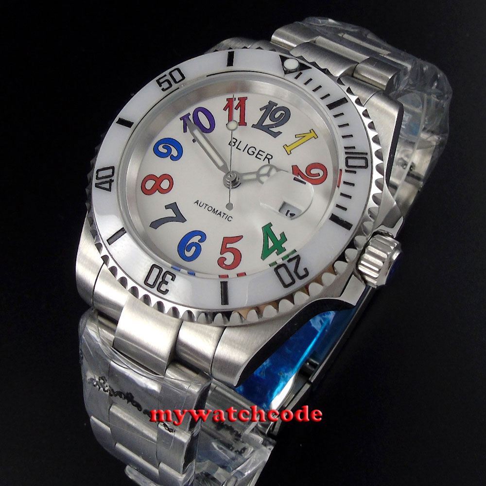 40mm Bliger white dial ceramic bezel date window automatic mens watch P106 цена и фото