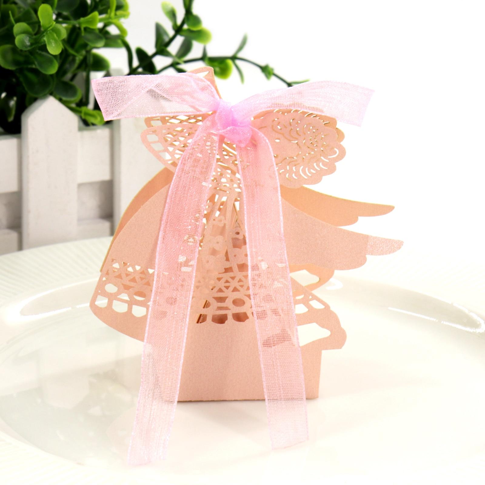 Купить с кэшбэком 10PCS/lot Laser Cut Angel Wedding Candy Box Chocolate Gift For Guest Wedding Favors Packaging Gift  Birthday Party Decoration