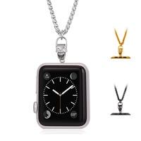 Colar legal Do Crânio para Apple Relógio 38 MM/42 MM Ouro/Aço Inoxidável Elo Da Cadeia Cubana para A Apple assistir Séries de 1 & Series 2 GN2550