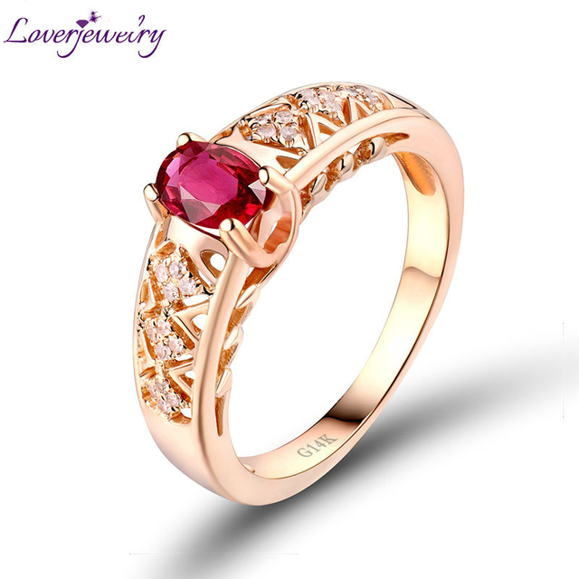 LOVERJEWELRY Classical Rings Oval Shape Gemstone Solid 14K Rose Gold Diamond Wedding Red Ruby Ring For Women Gift Wedding Bands