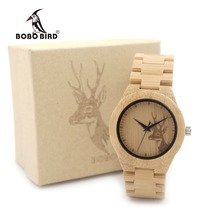 BOBO BIRD WE04 New Famous Brand Womens Deer Wooden Bamboo Wrist Watch Dress Style Female Ladies Relojes De Marca Relogio Gift