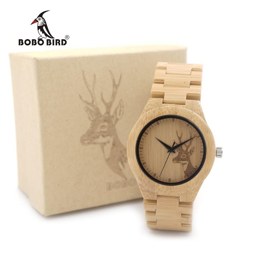 Prix pour BOBO OISEAU WE04 Nouvelle Célèbre Marque Femmes Cerf En Bois Bambou Montre-bracelet Style Vestimentaire Féminin Dames Relojes De Marca Relogio cadeau