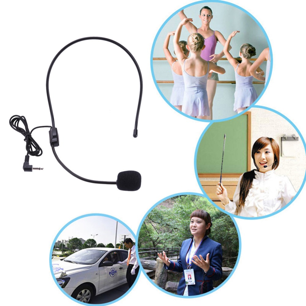 ALLOYSEED Universal Headset Microphone Portable Wired 3.5mm Jack Black Mic For Loudspeaker For Tour Guide Teaching Lecture