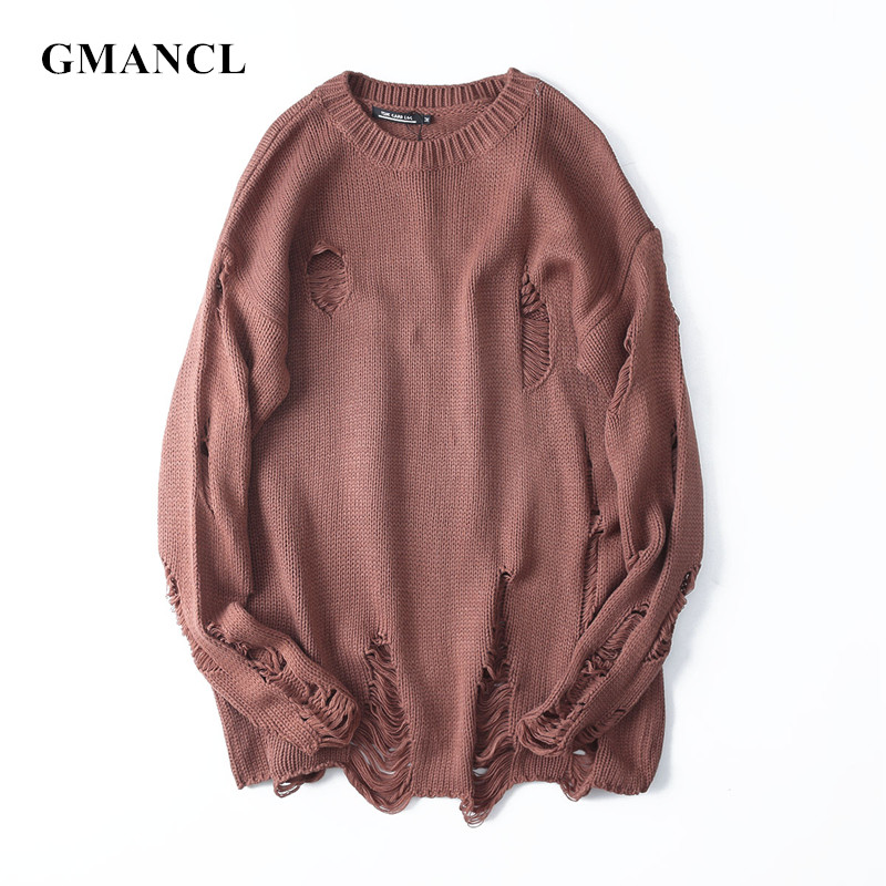 2019 Men Autumn New Streetwear Ripped Holes Designer Sweater Vintage Oversized Solid Male Warm Wool Loose Pullovers Sweater