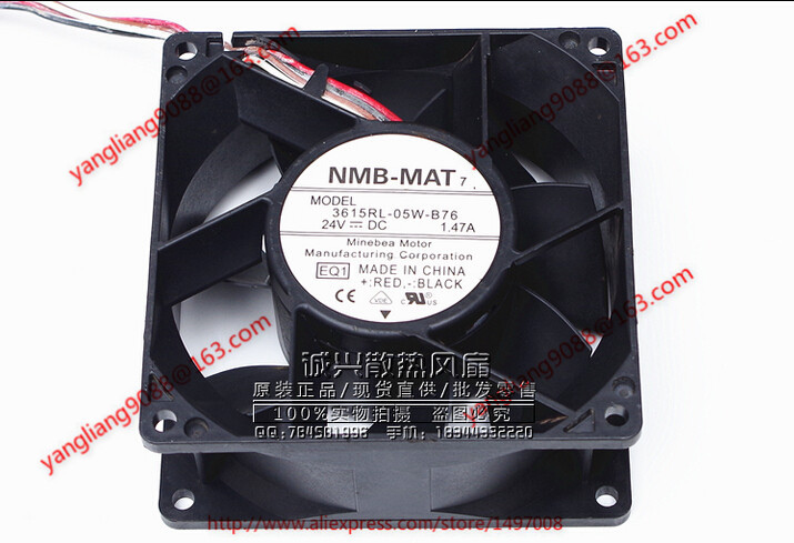 NMB 3615RL-05W-B76, EQ1 DC 24V 1.47A, 90x90x38mm 4-wire 110mm  Server Cooling Square fan genuine spare parts abb acs800 90 90 38mm 24v 0 32a 2 line waterproof fan pq1 3615 kl 05w b50
