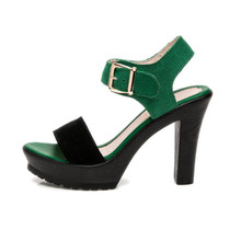 Plus Size Women's Genuine Leather Shoes Platform Sandals Summer 2018 High Heel Sandals Women Block Heel Shoe 41 42 43
