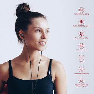 Image 2 - פעיל רעש מבטל אוזניות USB סוג C ב אוזן Wired אוזניות עם מיקרופון סטריאו אוזניות עם ANC עבור Huawei xiaomi סמסונג