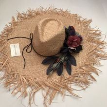 19 New Floral Solid straw hat bow wide ashgrass female Sun cap beach visor outdoor holiday beach sun protection hat Collapsible